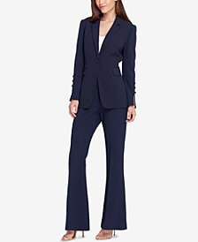 Tahari ASL One-Button Pebble Crepe Pantsuit, Regular & Petite