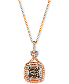"Le Vian Chocolatier® Diamond Cluster Rope-Look 18"" Pendant Necklace (3/8 ct. t.w.) in 14k Rose Gold"