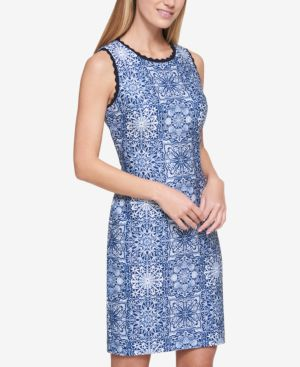 SCALLOPED-TRIM SHEATH DRESS