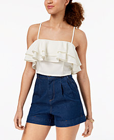 Material Girl Juniors' Ruffled Flounce Crop Top, Created for Macy's