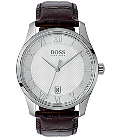 Hugo Boss Men's Master Brown Leather Strap Watch 41mm