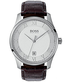 BOSS Hugo Boss Men's Master Brown Leather Strap Watch 41mm