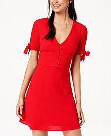 B Darlin Juniors' Tie-Sleeve Fit & Flare Dress