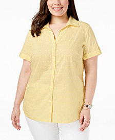 Karen Scott Plus Size Cotton Roll-Tab Shirt, Created for Macy's