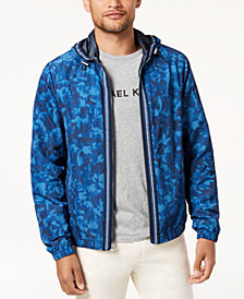 Michael Kors Men's Floral Camo-Print Hooded Bomber Jacket