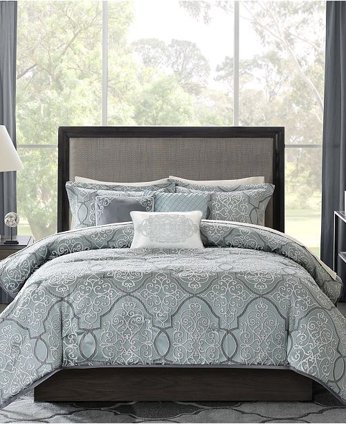 madison park closeout lavine 6 pc full queen duvet cover set reviews bed in a bag bed bath macy s macy s