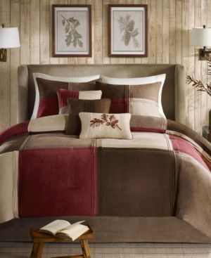 Madison Park Jackson Blocks Faux Suede 7-Pc. King Comforter Set Bedding 6044037
