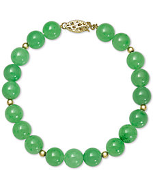 Dyed Jadeite (8mm) Beaded Bracelet in 14k Gold