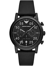 Emporio Armani Men's Chronograph Black Leather Strap Watch 43mm