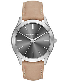 Michael Kors Men's Slim Runway Brown Leather Strap Watch 44mm