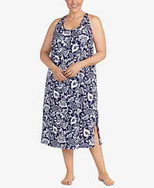Lauren Ralph Lauren Classic Knits Plus Size Back-Knot Cotton Nightgown