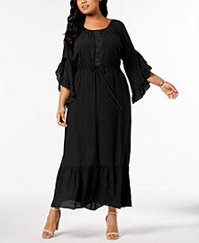 NY Collection Plus & Petite Plus Size Crochet-Trim Peasant Maxi Dress