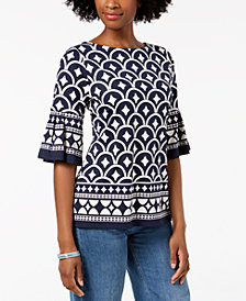 Charter Club Petite Printed Bell-Sleeve Top, Created for Macy's