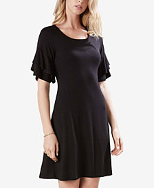 Karen Kane Ruffle-Sleeve A-Line Dress
