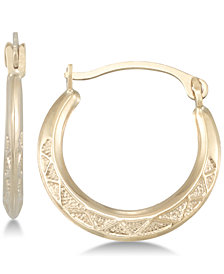 Textured Hoop Earrings in 10k Gold