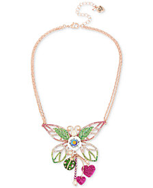 "Betsey Johnson Rose Gold-Tone Crystal & Imitation Pearl Butterfly Pendant Necklace, 15"" + 3"" extender"