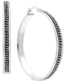 Essentials Medium Braided-Look Hoop Earrings in Fine Silver Plate