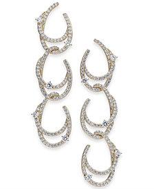 Danori Silver-Tone Cubic Zirconia Link Triple-Drop Earrings, Created for Macy's