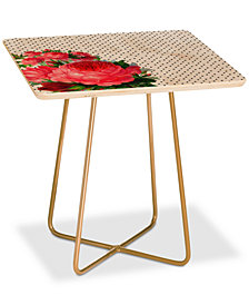 Deny Designs Allyson Johnson Floral Polka Dots Square Side Table