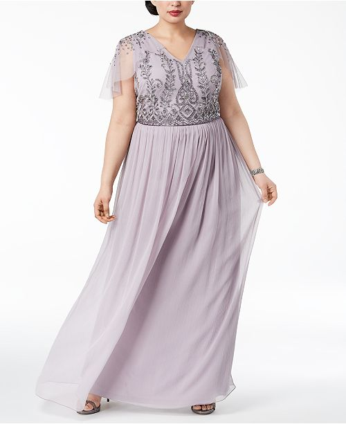 Adrianna Papell Plus Size Beaded Gown & Reviews ...