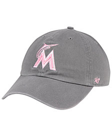'47 Brand Miami Marlins Dark Gray Pink CLEAN UP Cap