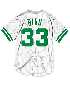 Mitchell & Ness Men's Larry Bird Boston Celtics Name and Number Mesh Crewneck Jersey