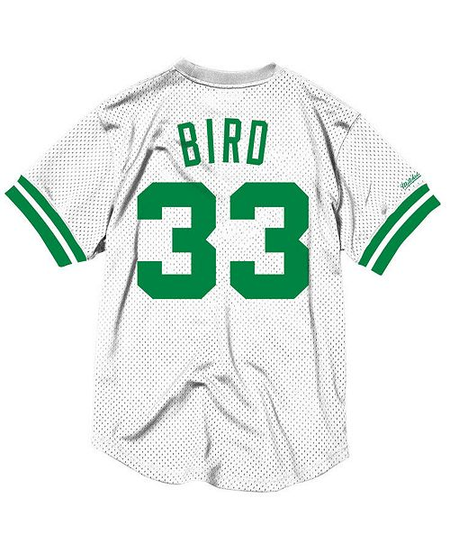 284e0519aaf Men s Larry Bird Boston Celtics Name and Number Mesh Crewneck Jersey