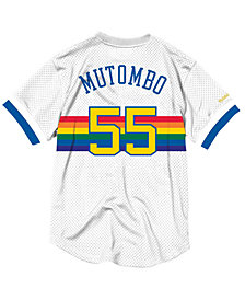 Mitchell & Ness Men's Dikembe Mutombo Denver Nuggets Name and Number Mesh Crewneck Jersey