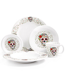 Fiesta Skull and Vines White Dinnerware Set