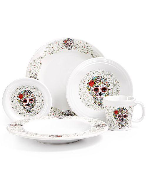 Fiesta Skull and Vines White Dinnerware Set