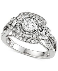 Diamond Halo Engagement Ring (1-1/4 ct. t.w.) in 14k White Gold