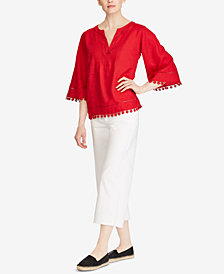 Lauren Ralph Lauren Lace-Trim Linen Top and Wide-Leg Jeans