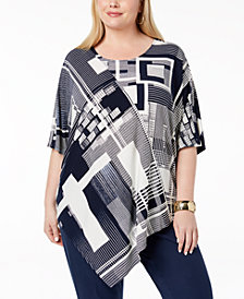 Alfani Plus Size Printed Asymmetrical-Hem Tunic, Created for Macy's