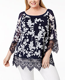 Alfani Plus Size Lace-Trim Peasant Tunic, Created for Macy's