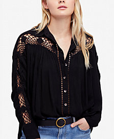 Free People Katie Bird Lace-Inset Shirt