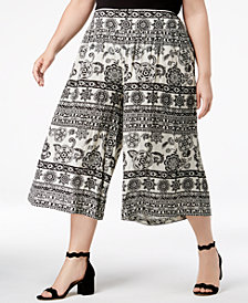 John Paul Richard Plus Size Printed Gaucho Capri Pants