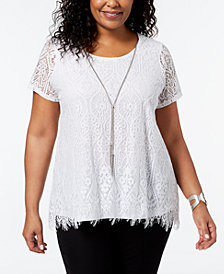 JM Collection Plus Size Lace Necklace Top, Created for Macy's