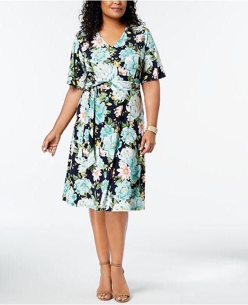 Charter Club Plus Size Flower-Print Midi Dress, Created for Macy\'s ...