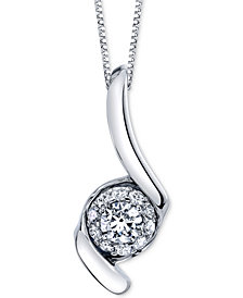 "Sirena Diamond Halo Swirl 18"" Pendant Necklace (1 ct. t.w.) in 14k White Gold"
