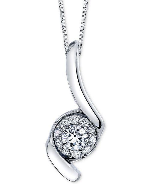"""Sirena Diamond Halo Swirl 18"""" Pendant Necklace (1 ct. t.w.) in 14k White Gold"""