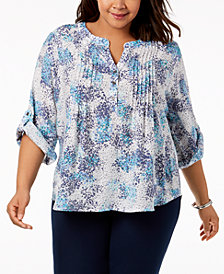 NY Collection Plus Size Printed Pintuck Top