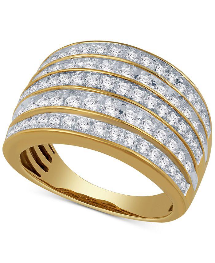 Macy's - Diamond Multi-Row Statement Ring (1 ct. t.w.) in 14k Gold