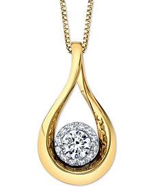"Diamond Halo Teardrop 18"" Pendant Necklace (1/2 ct. t.w.) in 14k Gold & White Gold"