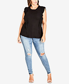 City Chic Trendy Plus Size Pleated Ruffle Top