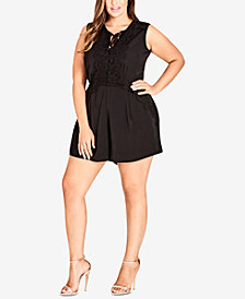 City Chic Trendy Plus Size Lace-Trim Romper