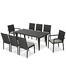 Cancun 9-Pc. Outdoor Dining Set (1 Table, 6 Armless Chairs, 2 Arm Chairs), Quick Ship