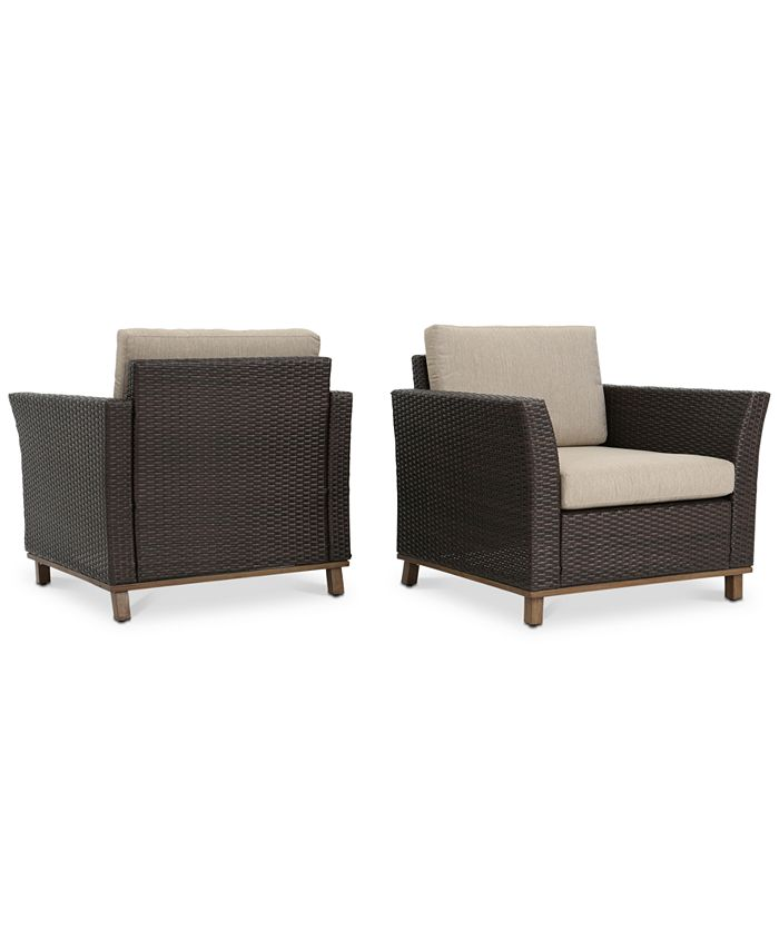 Noble House - Malibu Outdoor Club Chairs (Set of 2), Quick Ship