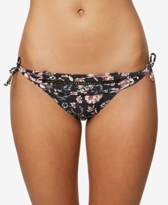 Juniors' Printed Side-Tie Cheeky Bikini Bottoms