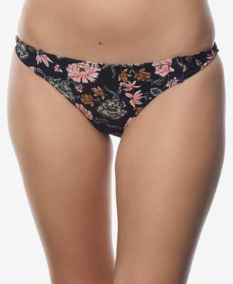 Juniors' Printed Side-Tab Bikini Bottoms