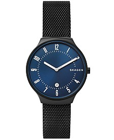Skagen Men's Grenen Black Stainless Steel Mesh Bracelet Watch 38mm